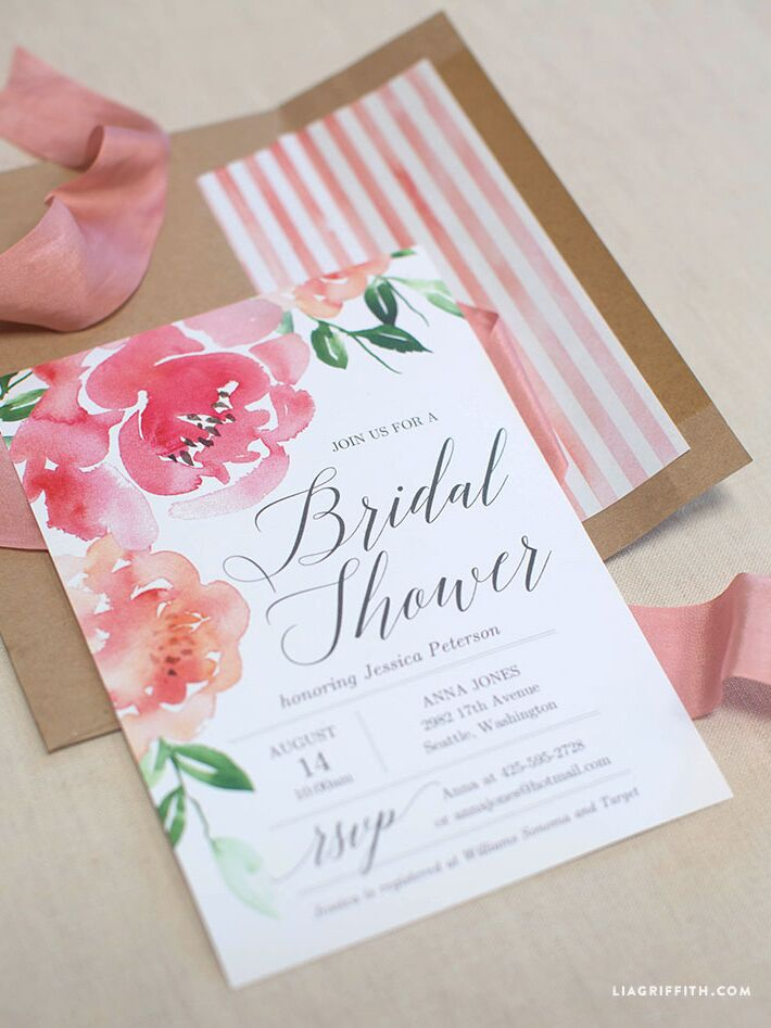 printable watercolor peony bridal shower invitation diy