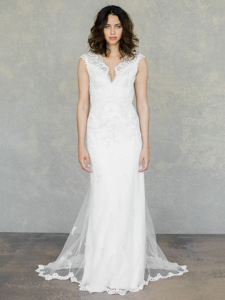 Claire Pettibone Spring 2019 cap sleeve wedding dress with lace trimmed hem