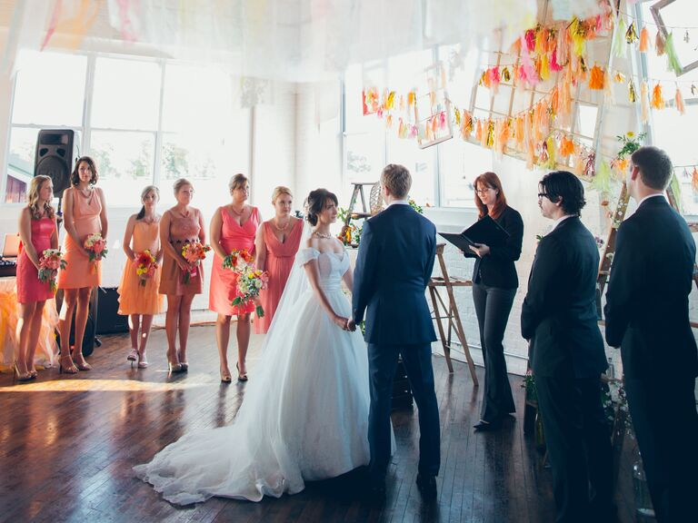 Vow Exchange Ceremony At Bright Diy Wedding