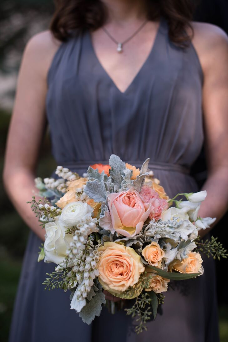 Classic Peach Rose and Dusty Miller Bouquet