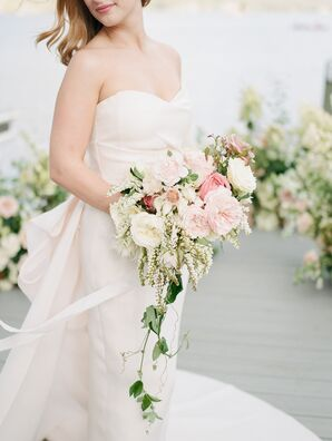 Blush Gown Complemented by Pink and Ivory Bouquet