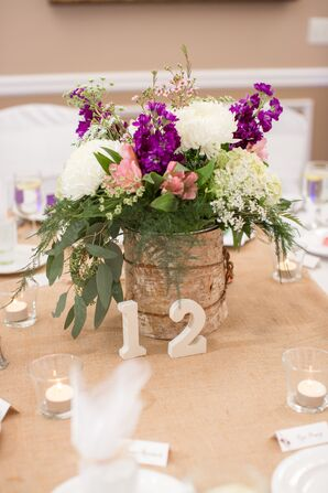 Natural Delphinium and Chrysanthemum Centerpiece