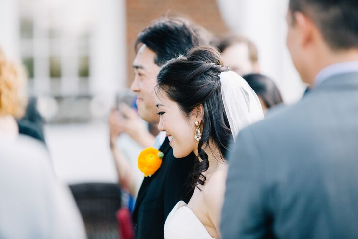 As a nod to both of their backgrounds, the couple wed in a Protestant ceremony, then exchanged vows in a sake ceremony to honor Yukari's Japanese heritage.