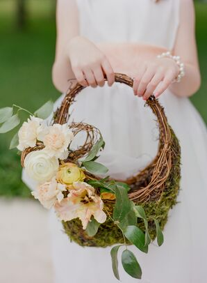 Peach Ranunculus and Tulip-Accented Moss Basket
