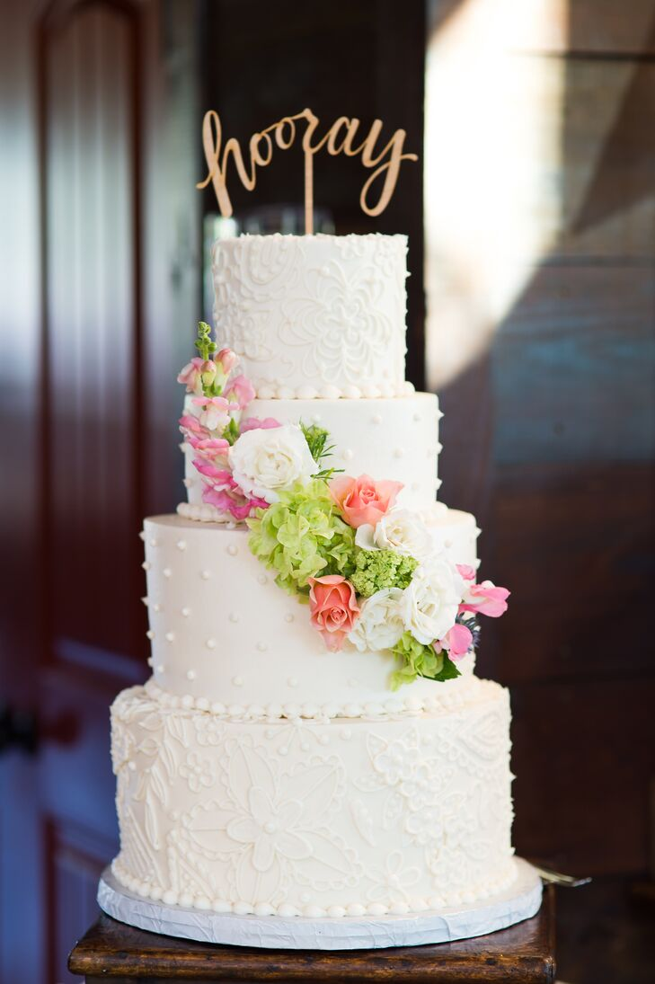 White Swiss-Dot and Lace Piping Wedding Cake