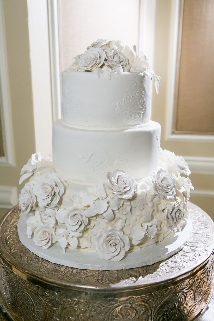 Tiered Wedding Cake with Ivory Buttercream and Sugar Flowers