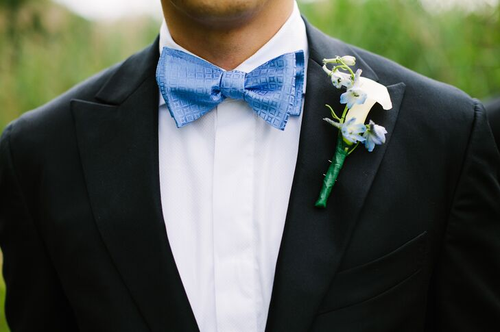 Blue Bow Tie and White Boutonniere