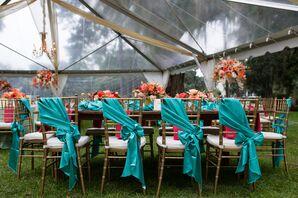 Turquoise-Tied Ribbon Chiavari Chair Decor