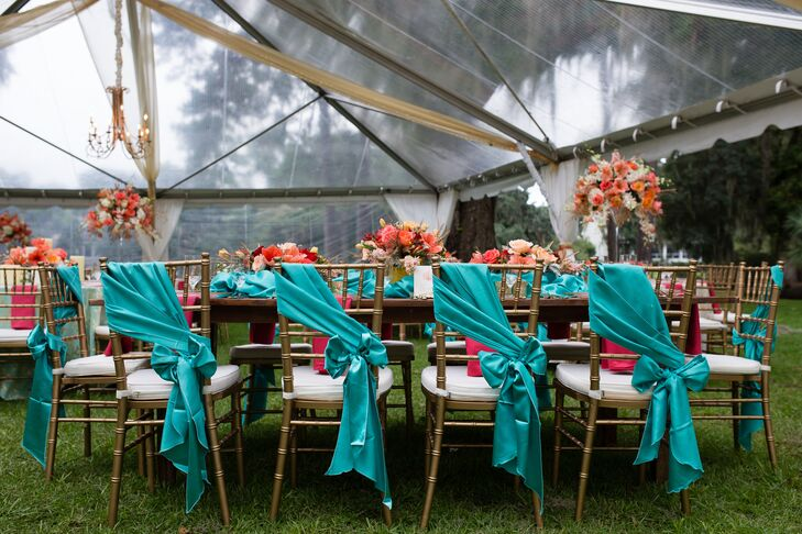 Turquoise-Tied Ribbon Chiavari Chair Decor