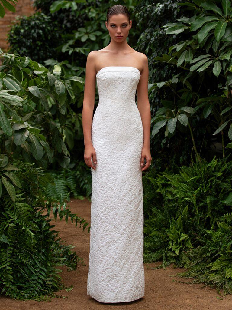Zac Posen for White One strapless column dress