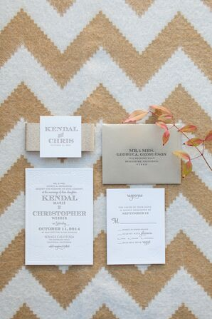 Gold and Gray Letterpress Invitations