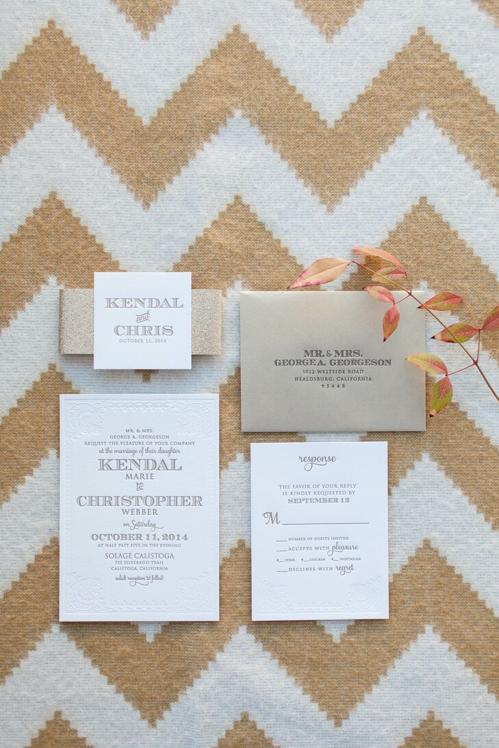 For the invitations and menus, Kendal and Christopher chose a letterpress print for a classic yet modern look. They used an ivory paper stock with an intricate lace design that was wrapped with gold sparkle belly band. The envelope was gold with a matching glittery lining.