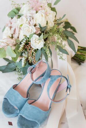 Pale Blue Velvet Heels with White Rose and Wildflower Bouquet