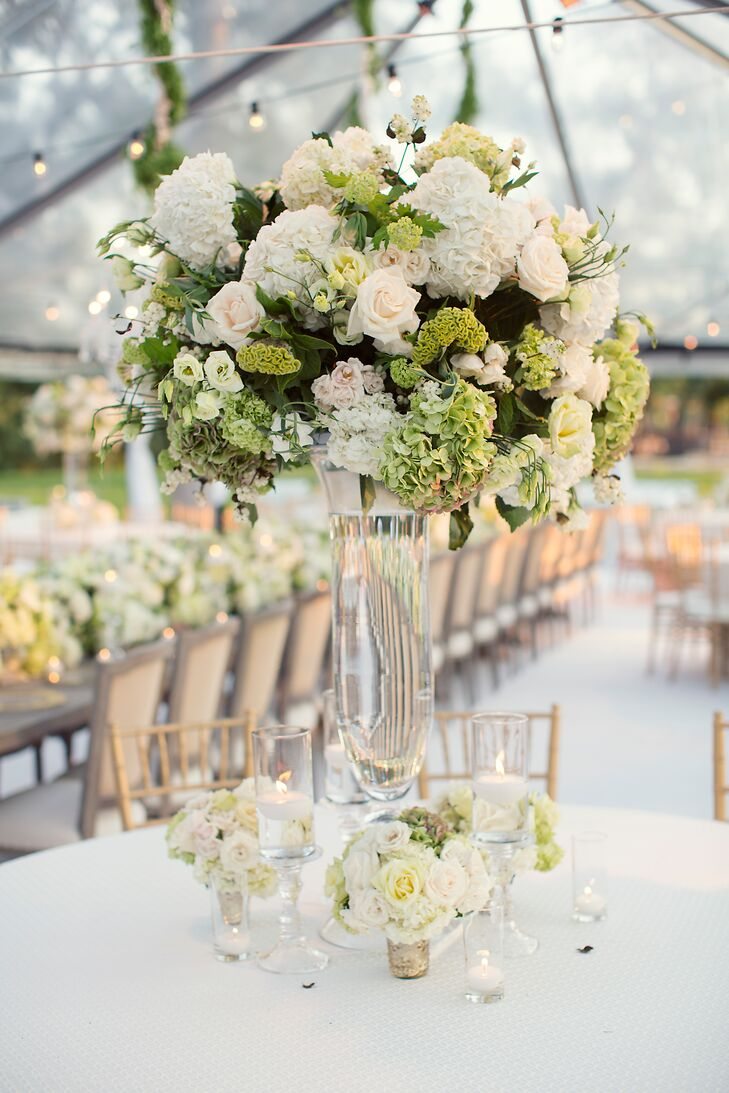 Large Green and White Floral Centerpiece