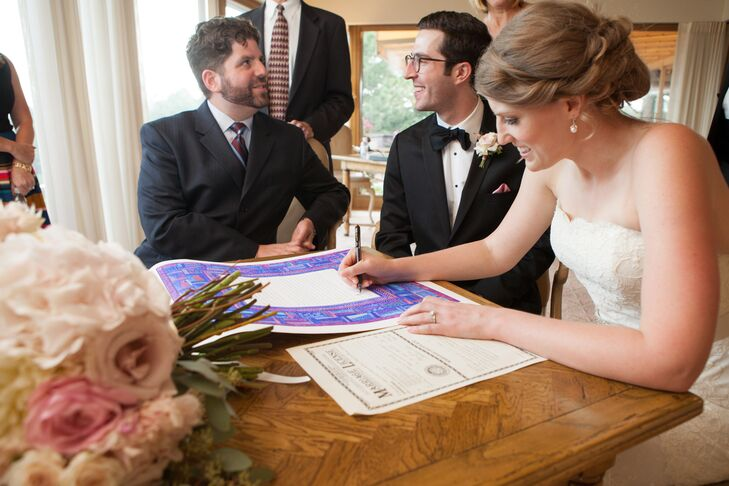Classic Couple Signing Ketubah