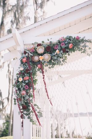 Altar with a Garland of Eucalyptus, Protea, Roses and Amaranthus
