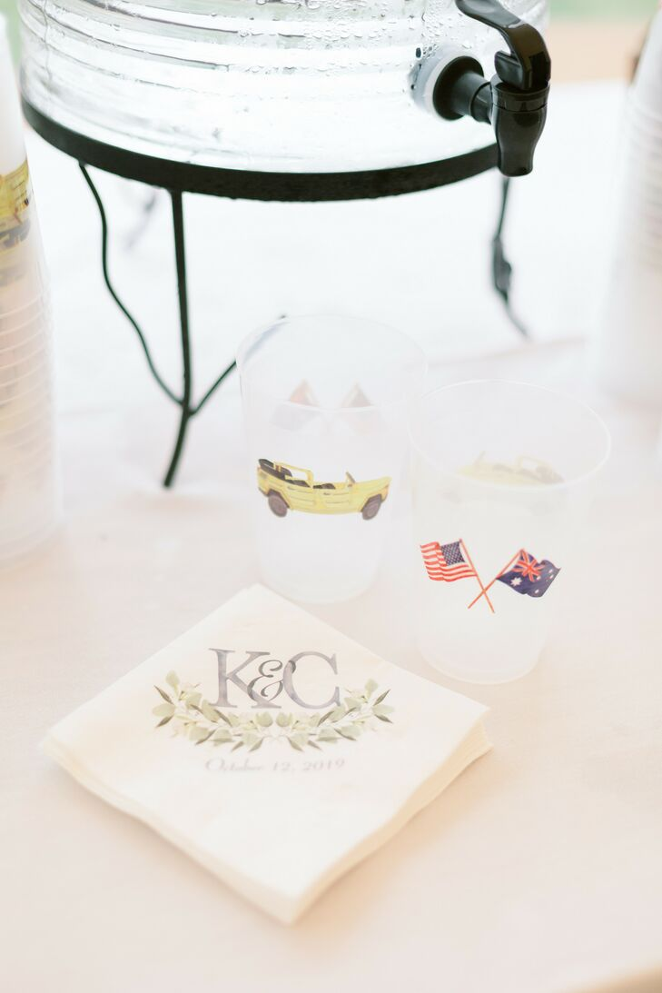 Custom Napkins and Cups at Martha's Vineyard Wedding