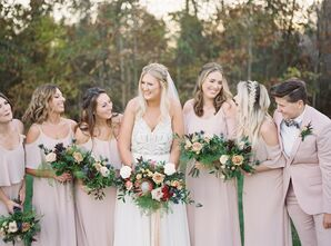 Blush-Pink Bridesmaid Attire and Modern Bouquets