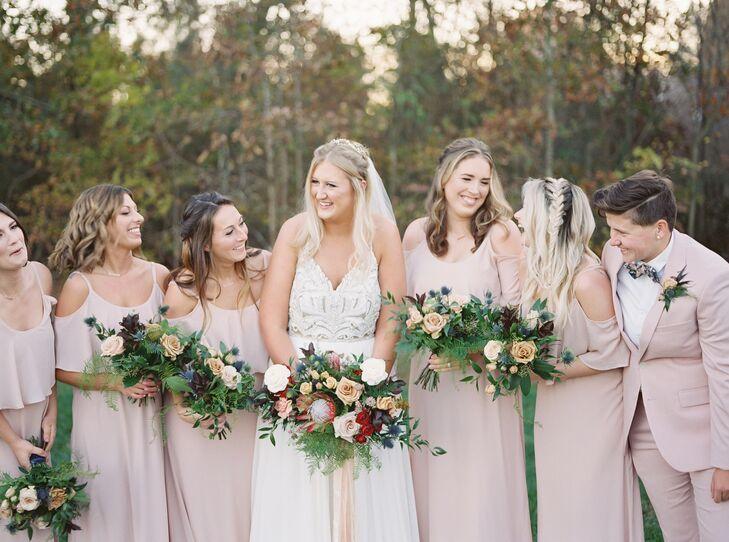 Blush-Pink Bridesmaid Attire and Modern Bouquets