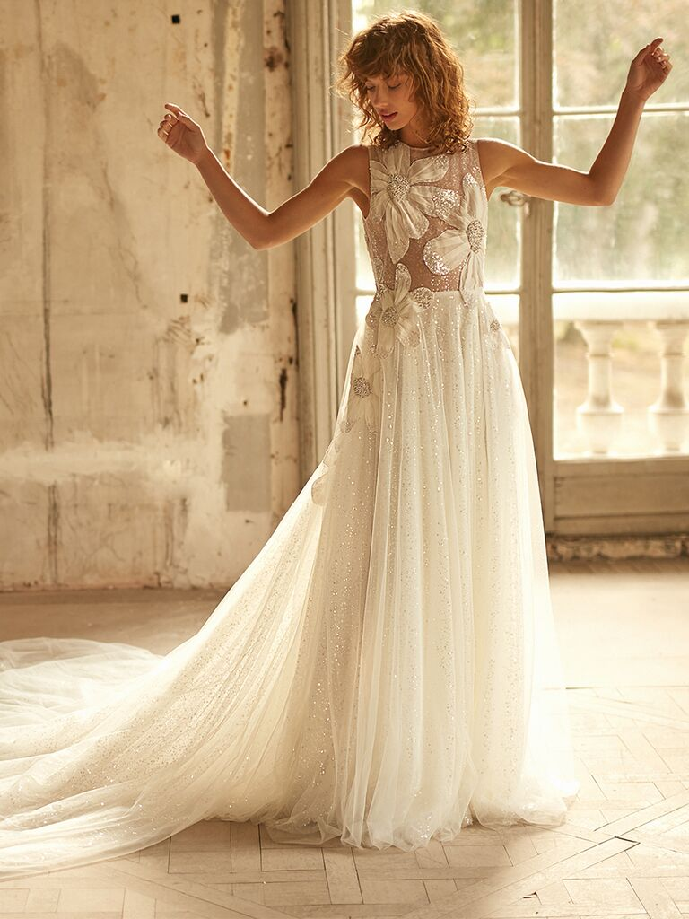 Dana Harel A-line dress with high neck and sheer bodice