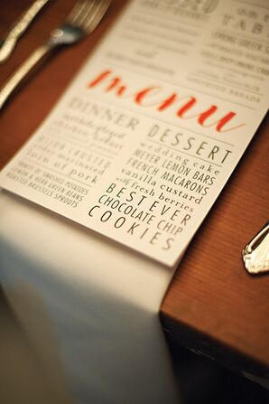 Modern Black and Orange Menu Cards