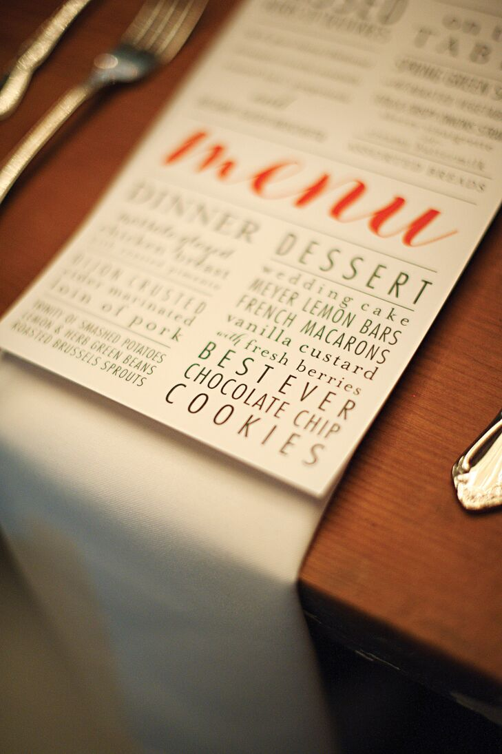 All of the stationery was custom designed by Allie Statler. Maggie and Chance didn't want all of the stationery to completely match, but loved the look of one common font to tie everything together. The menu cards were printed in a sans serif font with a bold cursive typography for the word menu.