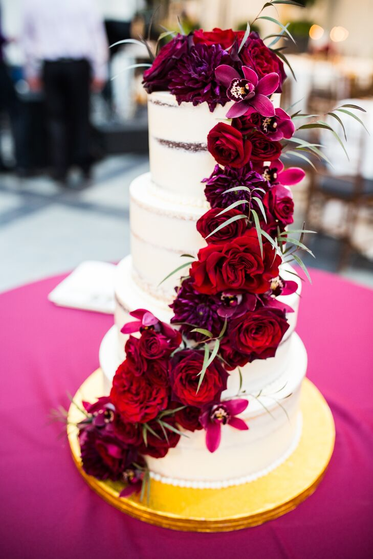 Elegant, Romantic Tiered Cake with Cascading Fall Flowers