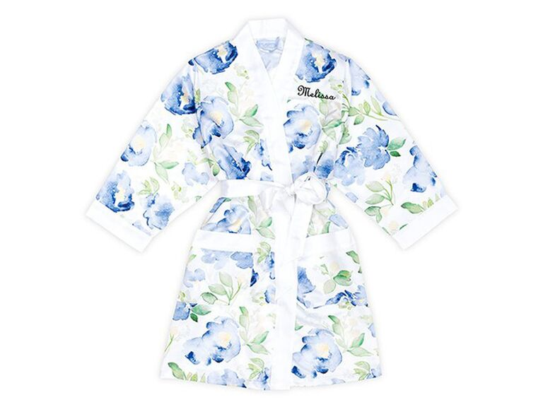 blue floral kimono robe