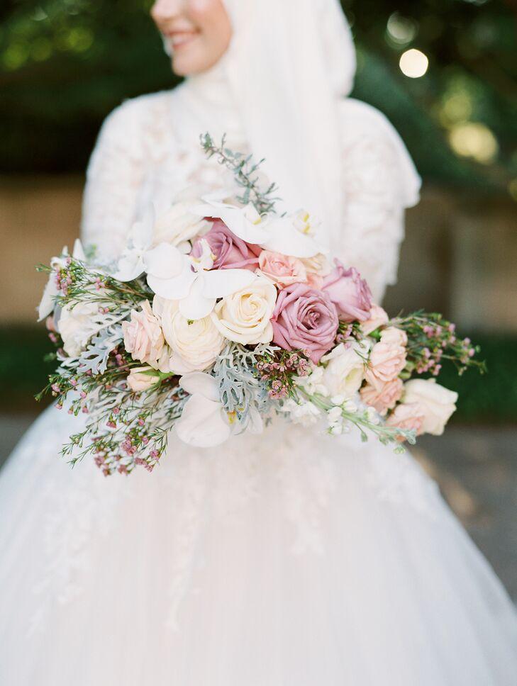 Wedding Bouquet with Purple Roses