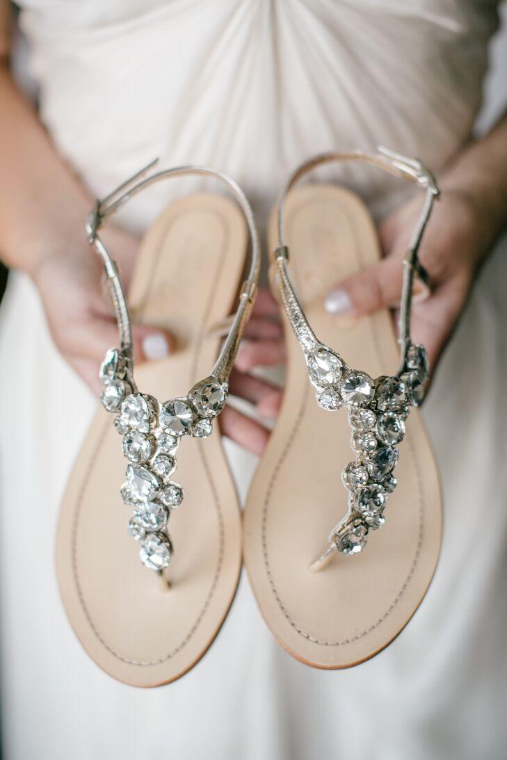 Crystal-Embellished Thong Sandals