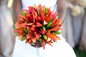 Coral Lily Bridal Bouquet