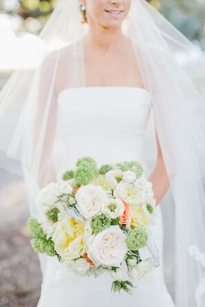 Large Garden Rose and Green Vibernum Bridal Bouquet