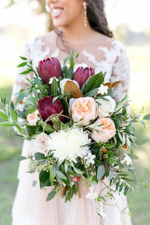 Rustic Bouquet with Oversized Proteas, Peonies and Berries