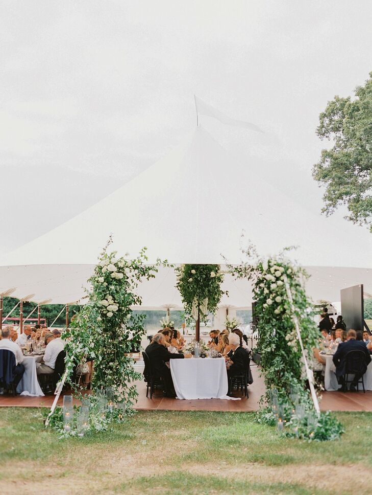 Sailcloth Tent with Greenery Entrance Arch at Wye River Estate