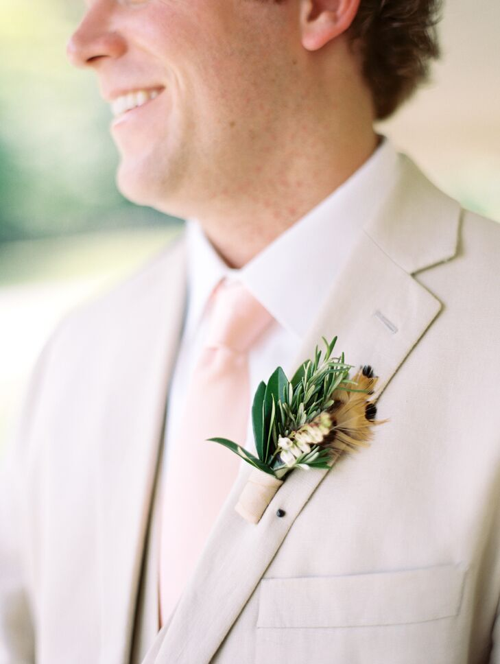 Pheasant Feather and Greenery Boutonniere
