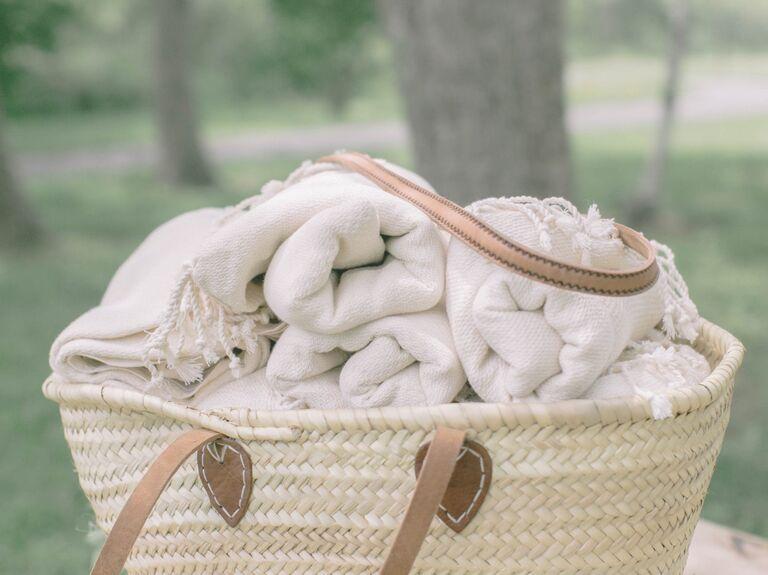 Throw blanket fall wedding favors