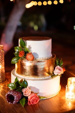 Gold Tier Cake with Coral Flowers