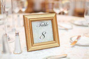 Elegant Gold-Framed Table Numbers