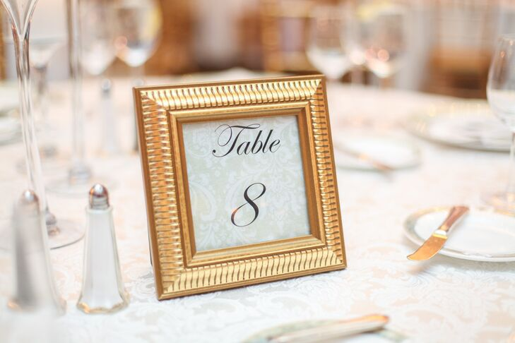 Elegant Gold-Framed Table Numbers