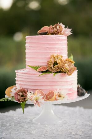 Pink Wedding Cake with Citrus Accents