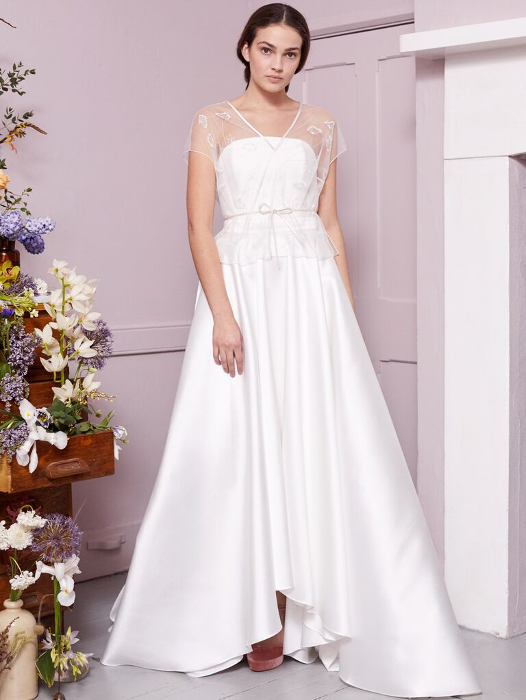 Halfpenny London 2020 Bridal Collection strapless A-line wedding dress with sheer peplum overlay
