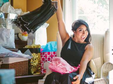 Bride opens cheeky gift at her shower