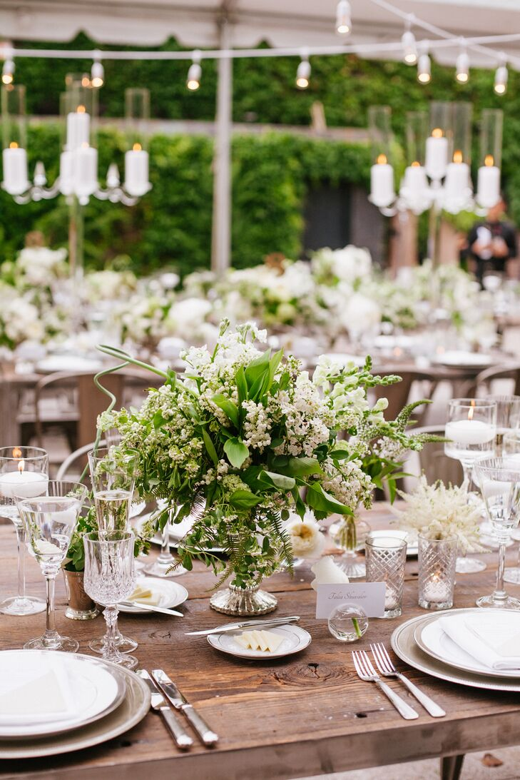 Greenery and Lady's Mantle Reception Centerpiece
