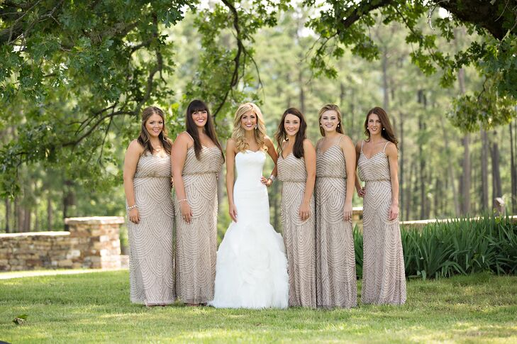 Modern, Long Taupe Bridesmaid Dresses
