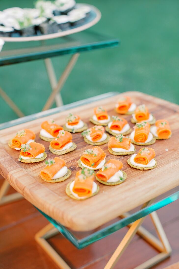 Casual Smoked Salmon Passed Appetizers on Wood Board