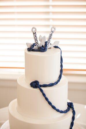 White Nautical Anchor and Rope Cake