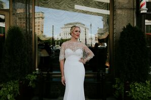 Vintage Formfitting Wedding Dress, Beaded Cape and Birdcage Veil