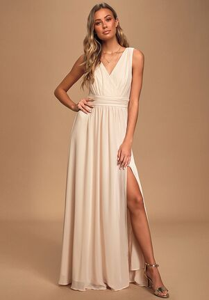 Lulus Thoughts of Hue Gardenia Surplice Maxi Dress V-Neck Bridesmaid Dress