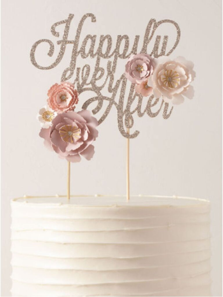 glitter happily ever after cake topper