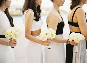 Bridesmaids in Mismatched Black and White